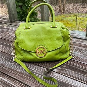Michael Kors lime green pebbled leather satchel🌿